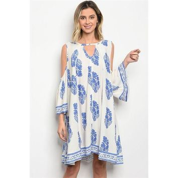Island Queen Cold Shoulder Shift Dress