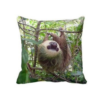 Two-Toed Sloth Throw Pillow from Zazzle.com
