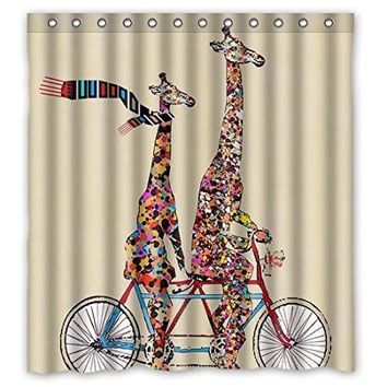Fabulous Fun with  Giraffe With  Scarf Ridding  a bike!  Eco-friendly Waterproof Fabric Shower Curtain