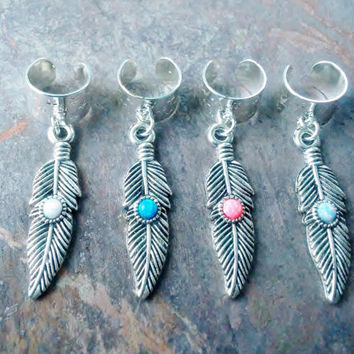 Tribal Opal feather ear cuffs.........choose a opal stone color