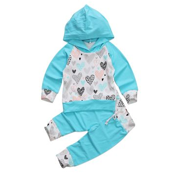 2 Pcs Baby Girl Hooded Heart Top and Leggings Outfit Set