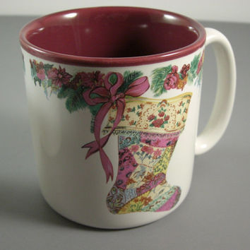 2 Potpourri Press Christmas Stocking Mugs // 1987 Coffee Cups