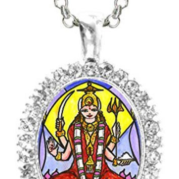 Goddess Parvati Mother of Ganesh for Love & Devotion Cz Crystal Silver Necklace Pendant