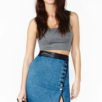 Double Take Denim Skirt