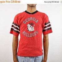 ON SALE 70s Georgia Bulldogs T-Shirt, Vintage Uga Shirt, Uga Football, Distressed, Soft Tee, College Football, Retro 70s T Shirt, Jersey