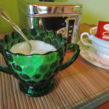 1950's Green Bubble Glass Sugar Bowl from Anchor Hocking