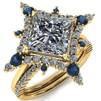 Thalim Princess/Square Moissanite 4-Point Star Alexandrite and Diamond Halo Ring