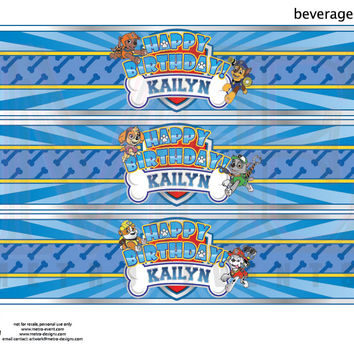 Paw Patrol Beverage Labels, Paw Patrol Water Bottle Labels, Paw Patrol Beverage Wrappers, Paw Patrol Labels, Paw Patrol Birthday, Paw Patrol from MetroDesigns
