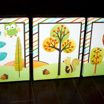 Set of 3 Woodland Forest Friends Bedroom Baby Nursery Art on Stretched CANVAS 3CS015