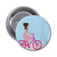 Biking in Paris 2 Inch Round Button