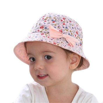 Summer Baby Girls Sun Hat Cotton Baby Bowknot Flower Print Hat Kids Child Cap Bucket Hat Double Sided Dual Use Bow Fisherman Hat