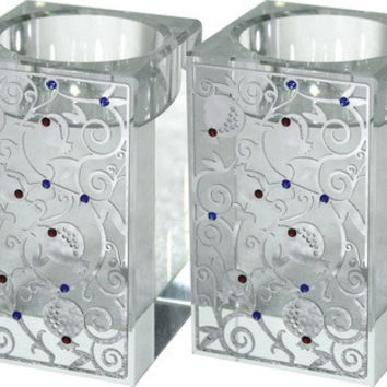 Pair Crystal Square Candlesticks 8 Cm With Metal Plate