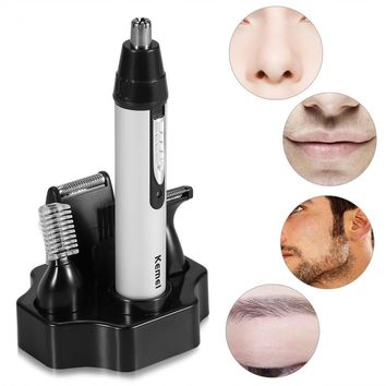 Keimei 4 In1 Electric Men Nose Hair Trimmer Nose Ear Eyebrow Beard Cutter Clipper Removal Shaving Machine Facial Cleaning Kits