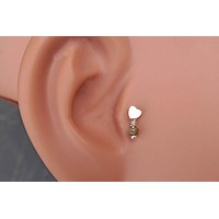 Rose Gold Heart Cartliage Earring Tragus Helix Piercing