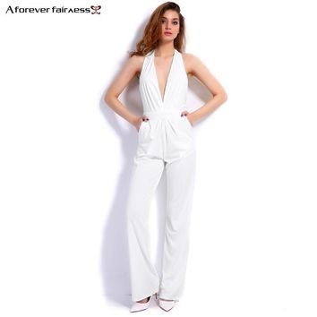 Spring Fashion Women Jumpsuit Sleeveless Hollow Out Backless Elegant Sexy Jumpsuit Slim Regular Long Jumpsuits M-276