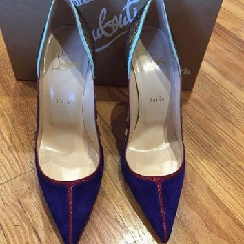 NEW Christian Louboutin Serianina Pointed Toe Color Block Pump 38 1/2 8.5 Shoes