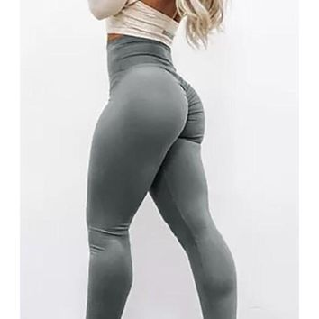 Grey Draped Elastic Waist Push Up Legging