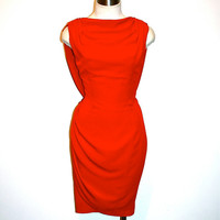 Vintage THIERRY MUGLER Red Dress Draped Backless Wiggle
