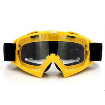 Adult Colourful double Lens Snow Ski Snowboard Goggles Motocross Anti-Fog Fashion Eye Protection Yellow Lucency