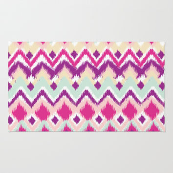 Aztec Tribal Pink Purple iKat Inspired Pattern Design Area & Throw Rug by TRM Design