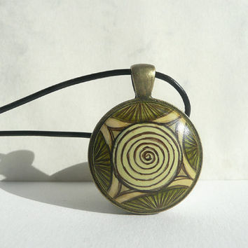 African Necklace, Hand Painted Charm Bezel, Tribal Art, Olive Green Necklace, Black Leather Cord Necklace, African Design by Artdora