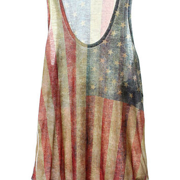 Carrie Underwood Burnout American Flag Tank