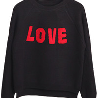 Black Letter Patch Heart Back Dipped Knit Jumper