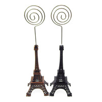 Metal Eiffel Tower Decor Card Holder, 4-inch, Swirl