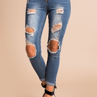Forever In Mind Distressed Jeans (Medium Wash)