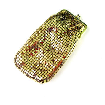 Long Gold Mesh Fabric Eye Glasses Case / Cigarette Case Snap Closure 1980's Vintage Collectible Gift Item 2412
