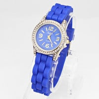 Blue Jelly Band Rhinestone Fashion Watch