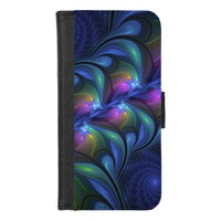Colorful Luminous Abstract Blue Pink Green Fractal iPhone 8/7 Wallet Case