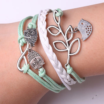 Rope Bracelet Green and White Owl Bracelet