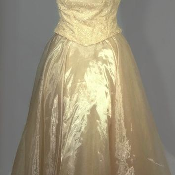 1990's Lenovia, Southern Belle, Long, Gold Prom Dress