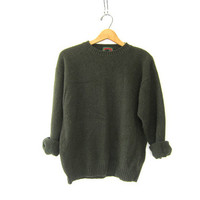 vintage army green sweater. wool knit pullover. basic sweater.
