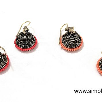 Antique gold Oxidized casual small hook drop Jhumka Earring with colorful bead surrounding