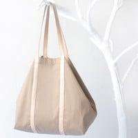 Cotton Shopper in Camel Brown with Twin Top Handels in Nude Leather, inner zip pocket, tote bag, shoulder bag, beach bag