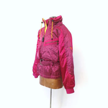 Vintage 1980s Kaelin Ski Coat Winter Jacket Magenta Metallic Pink Belted Ski Jacket Retro Size Small Hipster Parka Insulated Puffer Coat