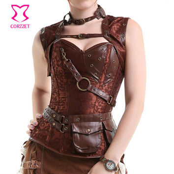 Latex Gothic Clothing Sexy Brown Steel Bone Corset Steampunk Waist Training Corsets And BustiersTop Women Corpetes E Espartilhos