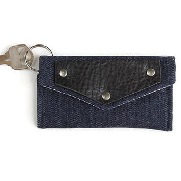 Denim Keychain Wallet with Leather Accent, Student Card Holder and Dorm Room Key Ring, Keychain Cardholder with Free Shipping