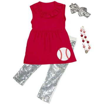 Baseball Outfit Silver Sequin Red Top And Pants