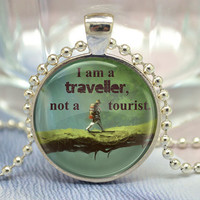 "Quote Necklace, Saying ""I'm a traveller,not a tourist"", Advanturer Inspirational Quote Necklace - Inspiring Jewelry (XL26"