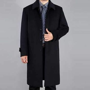 New Arrival Fashion Winter Long Sleeves Turn-Down Collar Single-Breasted Woolen Warm Plus Size Mid-Long Trench Men Coat H6471