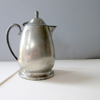 Antique Pewter Creamer with Hinged Top by Crescent