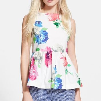 Women's kate spade new york 'blooms' stretch cotton peplum top