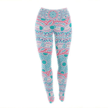 "Miranda Mol ""Prismatic White"" Blue Pink Abstract Yoga Leggings"