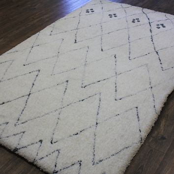 White Modern Shag Area Rug 100% Polyester - Exact Size 5' by 7'