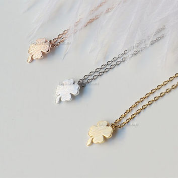 Tiny Four Leaf Clover Necklace in Gold, silver, rose gold - Sweet and Simple Shamrock for Good Luck