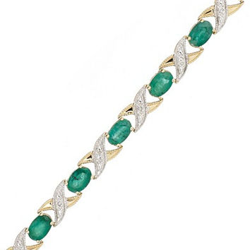 10k Gold Bracelet, Emerald (5 ct. t.w.) and Diamond Accent XO Link Bracelet