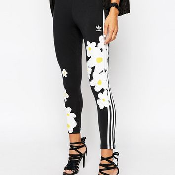 Adidas Originals Pharrell Williams 3 Stripe Leggings With Daisy Floral Print